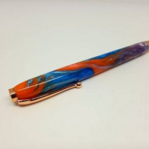 Handcrafted Acrylic Blue/Pink/Lavender Modified Slimline pen