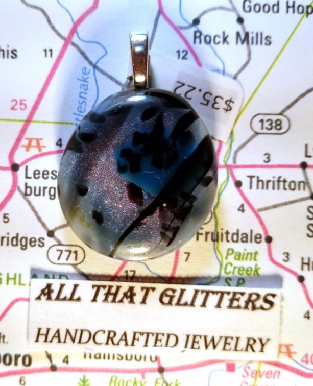 Dichroic Glass Pendent, Dichroic Pendent, Fused Dichroic Glass, Dichroic Glass Cabochon Pendent, Dichroic Glass