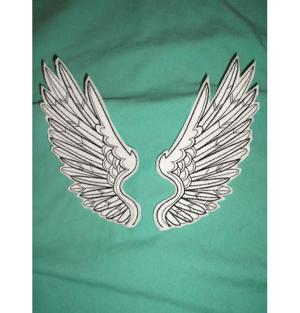 Embroidered Patches / tattoo wings - sew or glue on 5 x 6 inch ANY COLORS