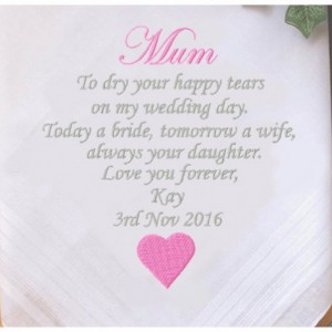 Embroidered Mother of the Bride Wedding Handkerchief, Customized personalised personalized Hankies Wedding Gift