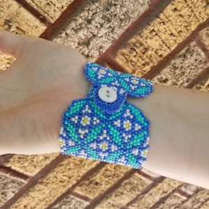 blue and aqua large woven bead cuff