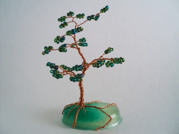 Brown Wire and Green Glass Bead Bonsai Tree