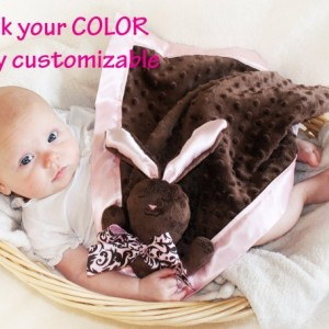 Brown Minky Bunny Rabbit Security Blanket, Lovey Blanket, Satin, Baby Blanket, Stuffed Animal, Baby Toy - Customize Color