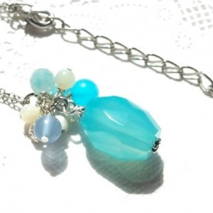 Necklace Aqua Color Natural Stone Beads Summer Resort Beach Sea Nugget Pendant Silver Plated Blue Chalcedony