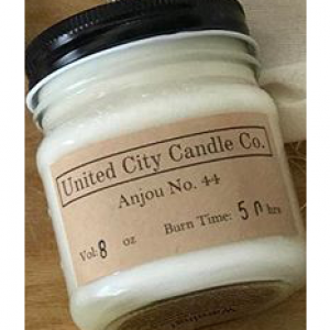 Anjou No. 44 --Juicy mouthwatering plump green pear warmed up over a hot wood fire. 100% soy candle. United City Candle Co.Made in USA