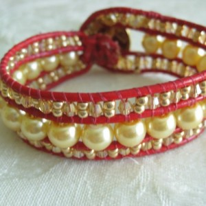 Leather beaded cuff bracelet in red and gold Wrap bracelet, designer look