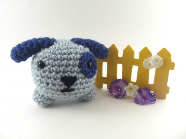 Mini amigurumi dog, amigurumi dog, crochet dog, tiny dog, kawaii, small dog, dog plush, dog plushie, under 15, blue dog, mini animal