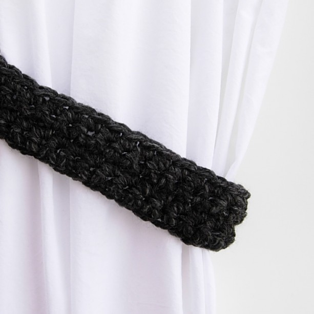 One Pair of Dark Charcoal Gray Curtain Tie Backs, Grey and Black Drapery Tiebacks, Thick Wool and Acrylic Blend, Basic, Crochet Knit, Ready to Ship in 3 Days