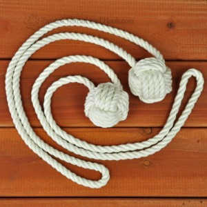 1 Pair of Monkey Knot Curtain Tiebacks - Nautical decor tiebacks - Rope Decor - Monkey Fist Tiebacks
