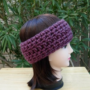 CROCHET HEADBAND Ear Warmer Solid Fig Purple Thick Chunky Warm Winter Wool Women's, Men's Simple Basic Knit Head Band, Ready to Ship in 3 Days