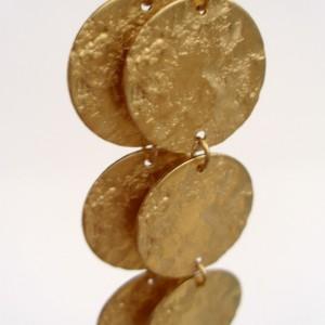 Textured Brass Disc Earrings