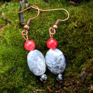 Sodalite earrings with snowflake obsidian and quartzite accents on copper