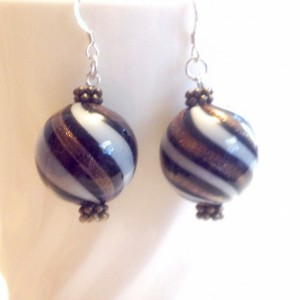 Gold Handblown Glass Beaded Earrings, Large Black Beaded Earring, Sterling Silver Earwire, White Handmade Dangle Earrings, Woman's Gift
