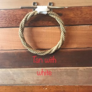 Nautical Decor Rope Towel Ring With Stainless Steel Cleat / Choose Color Combos  Tan/White/Gray/Navy/Silver