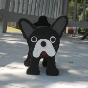 "Boston Terrier  "" Poncho""  Planter box"