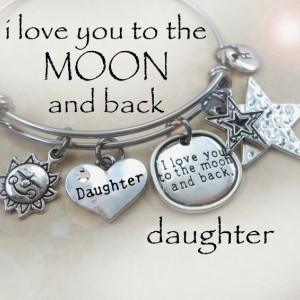 """I Love You To The Moon And Back"" Stainless Steel Bangle"