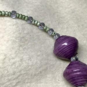 "Chunky Purple handmade beaded 20"" long necklace matching 1.25"" earrings"