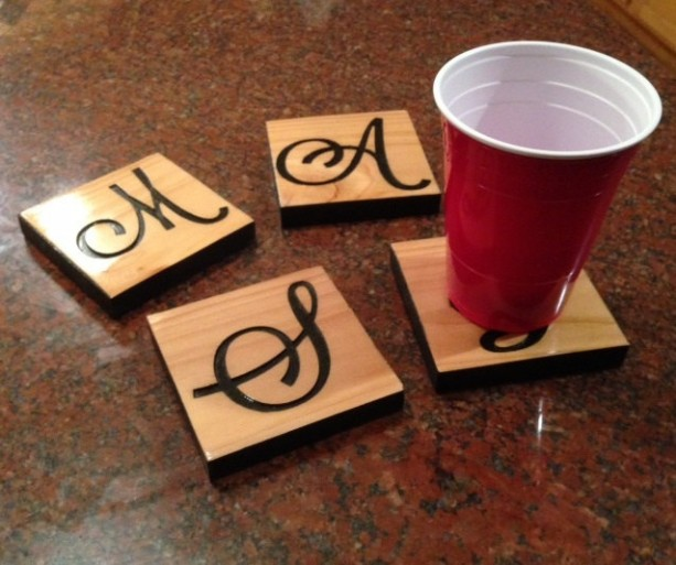 Personalized Custom Cedar Coasters -  Set of 4 - customize by Adding a Picture or a monogram Letter