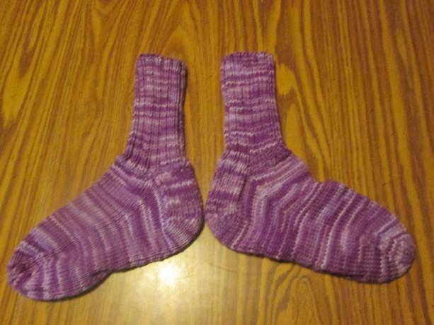 Hand Knit Adult Winter Socks- Purple Tones