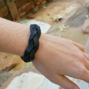 Black Leather Bracelet - Mystery Braid - Multi-Strand - Adjustable Size - Men's / Women's