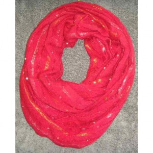"Infinity scarf - Red sparkle Infinity Scarf for women (6""x27"")"