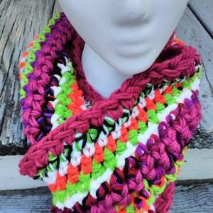 Multicolored scarf, Freeform crochet, Long, Vegan friendly