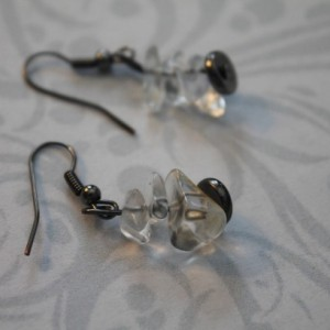 Assorted Size White Opal Drop Dangle Earrings With Black Findings