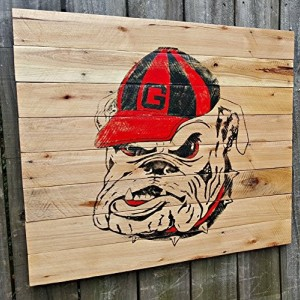 Large Rustic Handmade University of Georgia Reclaimed Wooden Pallet Sign
