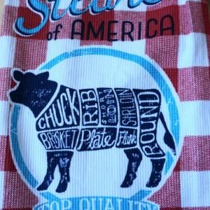 Steaks of America Crochet Top Towel, Kitchen Hand Towel, Set of 2, Crochet KitchenTowel