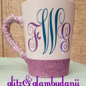 Custom Diamond and Pearls Handle Coffe Mug with Monogram Initals