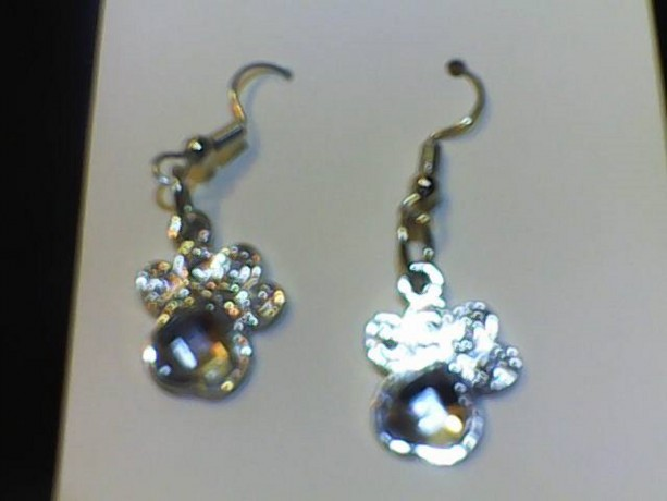 Dog Paw Homemade Earrings Silver in Color for Pierced Ears.