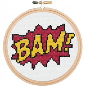 BAM Comic Book Sound Effect Retro Cross Stitch DIY Kit Needlework Embroidery Beginner