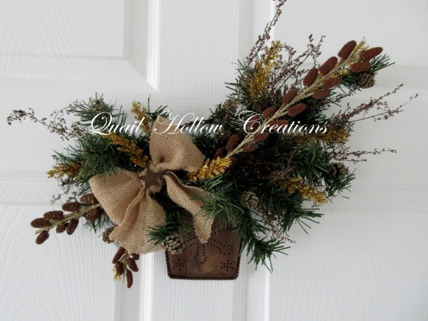 Rustic Christmas Wall Pocket Floral