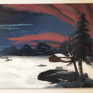The snowy plains-acrylic painting on canvas of hunting cabin near woods in winter with snow and ice under a pink and blue sunset sky