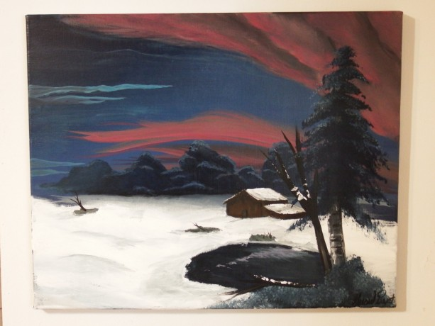 The Snowy Plains Acrylic Painting On Canvas Of Hunting Cabin Near Woods In Winter With