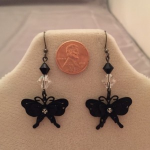Real Onyx and Czech Crystal Black Butterfly Earrings