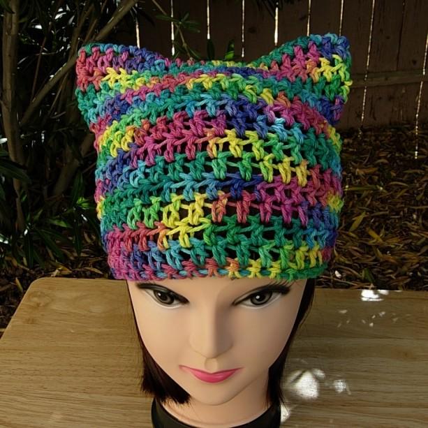 Colorful Rainbow Crochet Knit Summer Cotton Cat Hat Aftcra