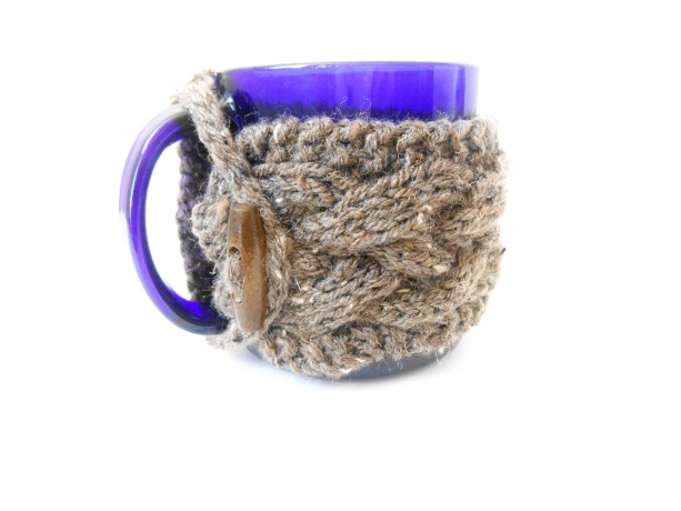 Knit Cabled Mug Cozy