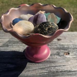 Mushroom Shaped Covered Dish - Reversible & Versatile - Berry Pink - Tangerine Orange - Gold - Floating Candle Holder - Crystal Holder