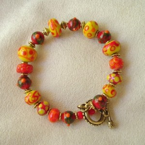 Fiesta Lampwork Glass Bead Bracelet with Antique Gold Clasp