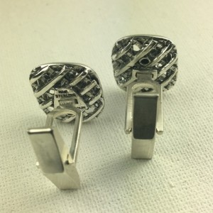 Gold flamed sterling silver Menorah cuff links