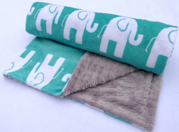 Elephant Baby Blanket - Teal and Gray Minky Baby Blanket - Houndstooth Blanket for Your Little Sugar Doodle - Unisex Baby Blanket