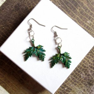 Green Leaf Earrings, Leaves Earrings, Tree Earrings, Bough Earrings, Plant Earrings, Woodland Earrings Nature Earrings Green Leaves Earrings