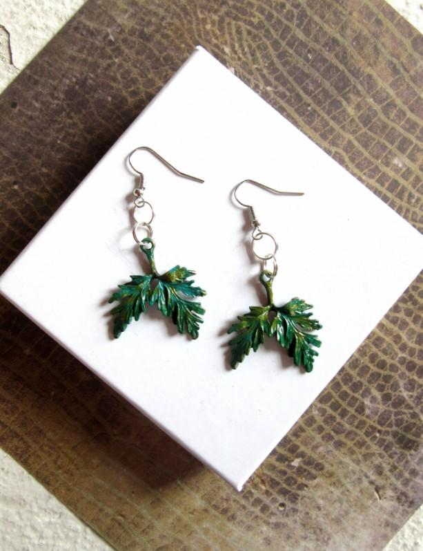 Green Leaf Earrings, Leaves Earrings, Tree Earrings, Bough Earrings, Plant Earrings, Woodland Earrings Nature Earrings Green Leaves Earrings