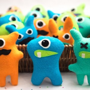 Set of 3 Adopt a monster plush. Mini stuffed monster party favors. Felt Monsters. Little monster theme party. Adopt a Monster party