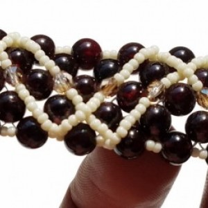Garnet Cuff Bracelet: Garnet, Czech Crystals, and Cream Japanese Seed Beads