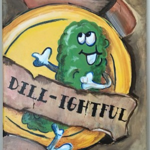 Dill-ightful Scratch and Sniff Pickle original Acrylic on Canvas- Free Shipping