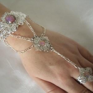 Pink Opal Hand Chain Bracelet