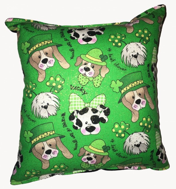 Details about  Irish Dogs Pillow Puppy St Patricks Pillow Handmade in USA Pillow