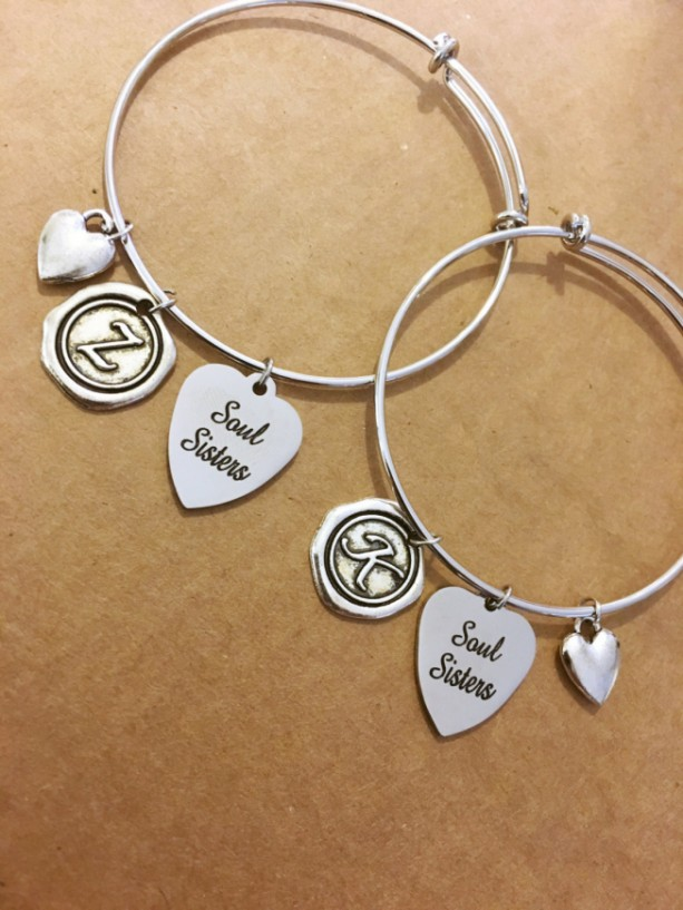 Two soul sisters adjustable charm bracelets